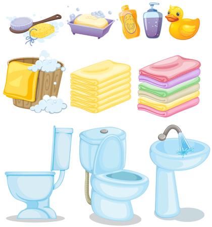 clean bathroom: Set of bathroom equipments illustration Illustration