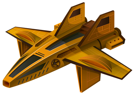 unidentified: Yellow spaceship with wings illustration