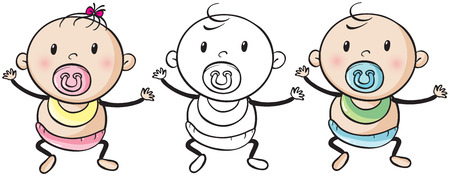 doodle art clipart: Baby boy and girl illustration Illustration