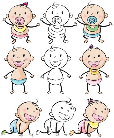 baby in diaper: Baby boys and girls in different positions illustration