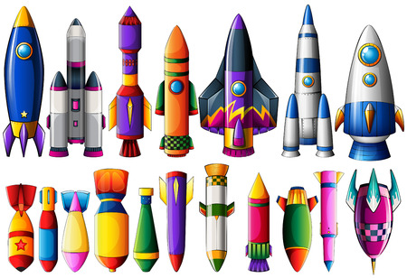 bomb: Different kind of rocket ships and bombs illustration