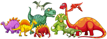 creature: Different type of dinosaurs in group illustration