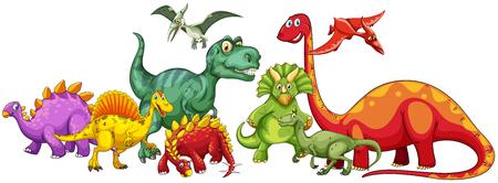 brachiosaurus: Different type of dinosaurs in group illustration