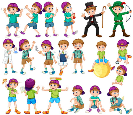 silly: Boy doing different activities illustration
