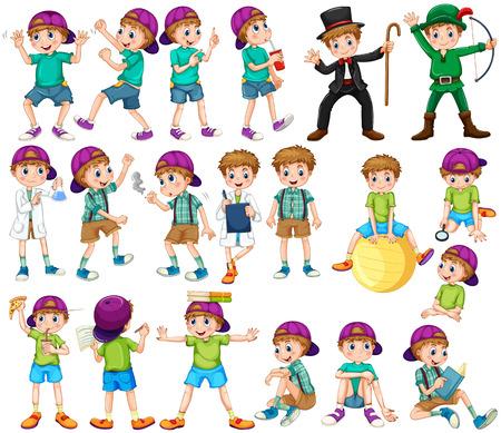 Boy tut verschiedenen Aktivitäten illustration Standard-Bild - 51020313