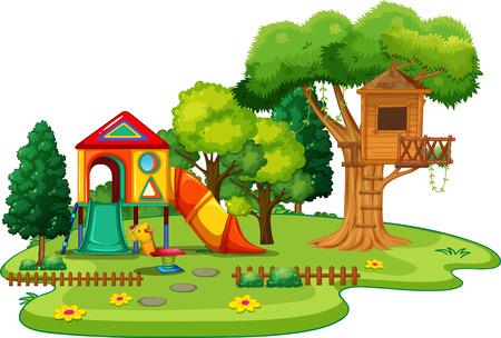 slides: Scene of park with treehouse and slides illustration
