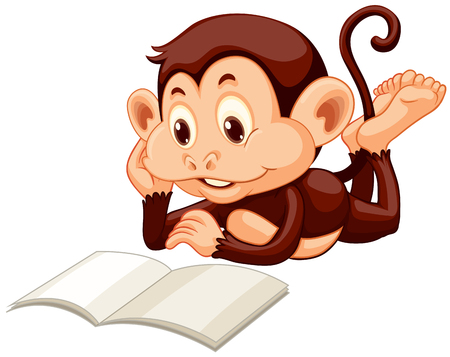 Little monkey reading a book illustration Ilustração