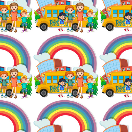 schoolbus: Seamless children standing by the schoolbus illustration Illustration