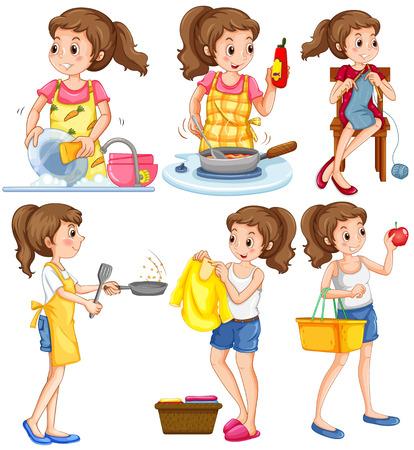lavar trastes: Ama de casa haciendo diferentes tareas de la ilustración Vectores