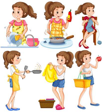 Housewife doing different chores illustration Illustration