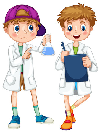 experiments: Boys in science gown writing and experimenting illustration