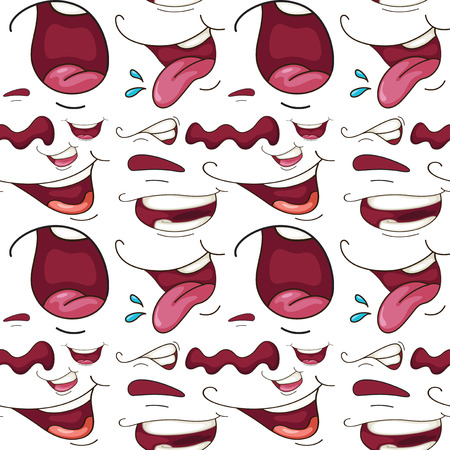 wrap wrapped: Seamless different expressions of mouth illustration Illustration