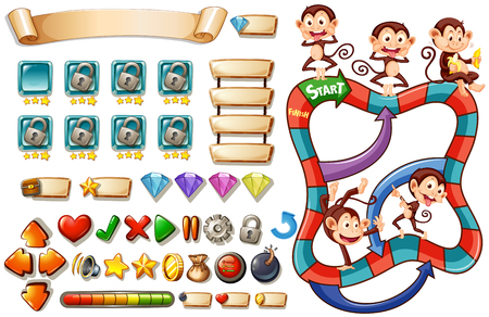 heart clipart: Game template with monkeys illustration