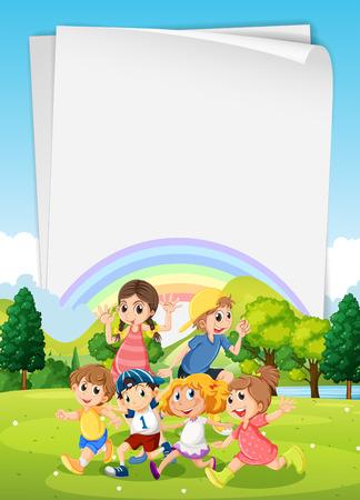 Kinder laufen um im Park Illustration