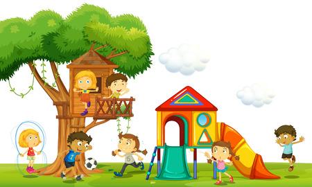 niños jugando en el parque: Los niños que juegan en la casa del árbol en el parque de la ilustración Vectores