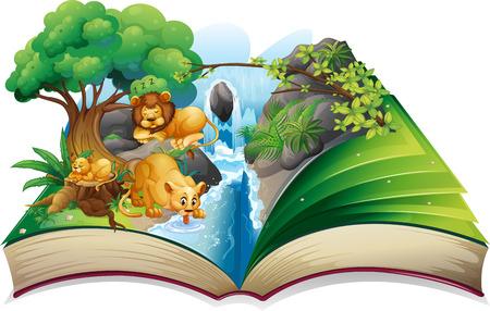 Lion vivant faminly par la cascade illustration