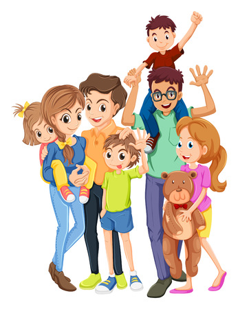 Family members with father and mother illustration