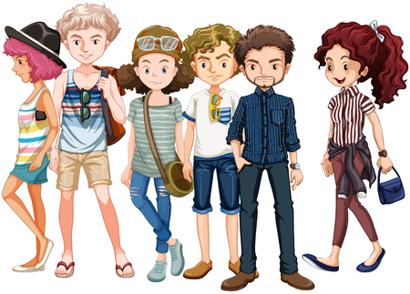 man close up: Hipsters standing in group illustration Illustration