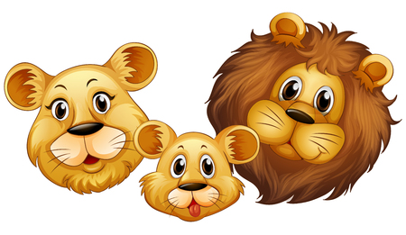 face illustration: Family of lion with happy face illustration
