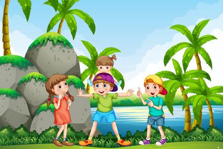 niños jugando en el parque: Niños jugando en la ilustración parque Vectores