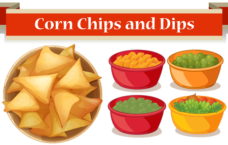 corn chips: Corn chips and four kind of dips illustration