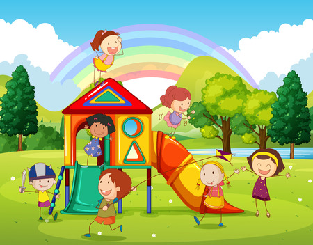 rainbow slide: Children playing at the playground in the park illustration
