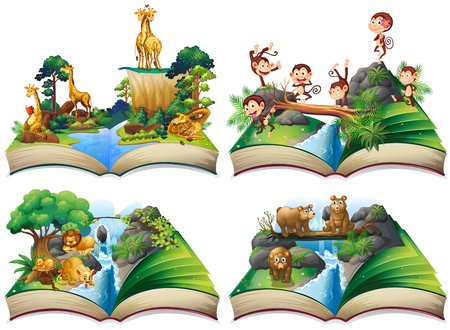 Book with wild animals in the jungle illustration Stock Illustratie