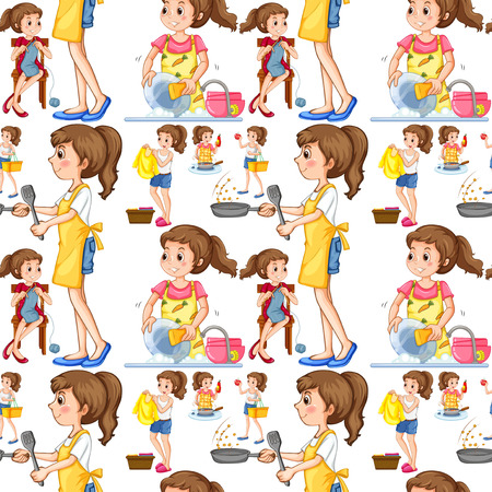 doing chores: Seamless housewife doing chores illustration