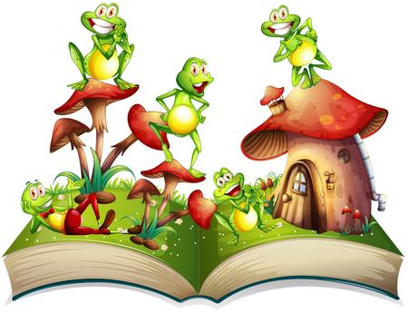 Libro con molte rane illustrazione sorridente