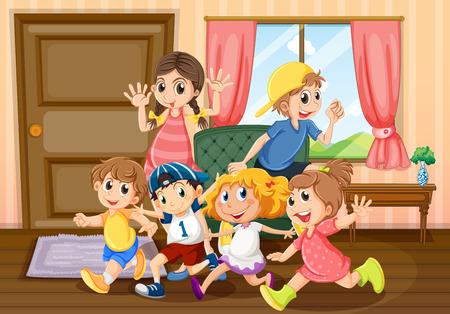 family house: Children running around the room illustration