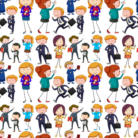 office background: Seamless business people doing activities illustration Illustration