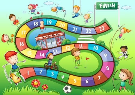 Boardgame template with sport theme illustration