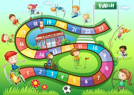 niños saludo: plantilla juego de mesa con la ilustración del deporte tema