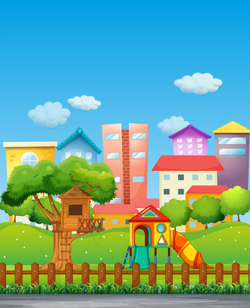 yards: Park with playground in the neighborhood illustration