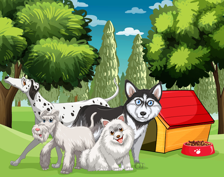puppies: Many types of dogs in the park illustration