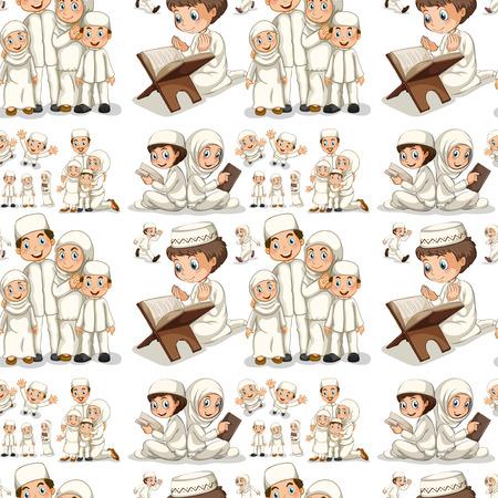 chicos: Sin fisuras de lectura musulmán y rezando ilustración Vectores