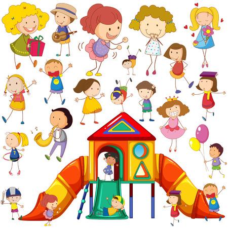 multitud gente: Niños que hacen diferentes acciones y la ilustración casa de juegos Vectores