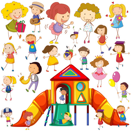 Children doing different actions and playhouse illustration Illustration