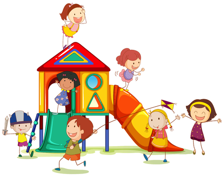 playhouse: Children playing around the playhouse illustration