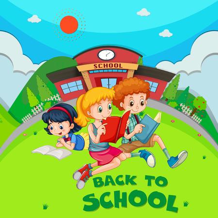 three children: Three children reading book at school ground illustration