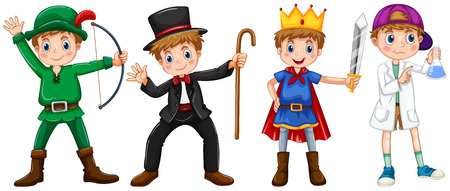 kids costume: Boys in different costumes illustration