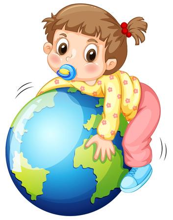 child drawing: Girl todler hugging the earth illustration Illustration