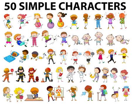 jardineros: Cincuenta caracteres simples y pequeños ilustración Vectores