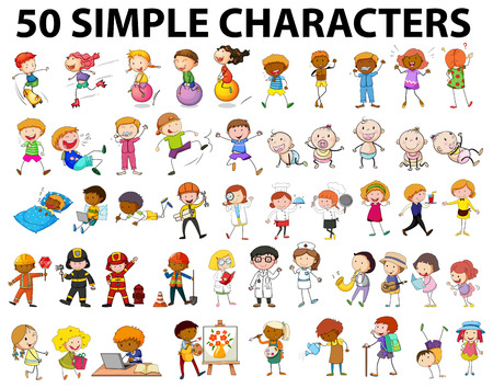 children drawing: Fifty simple characters young and old illustration