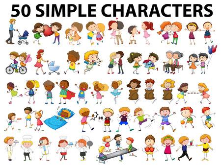 Menschen, die verschiedene Aktionen Illustration Standard-Bild - 51020200