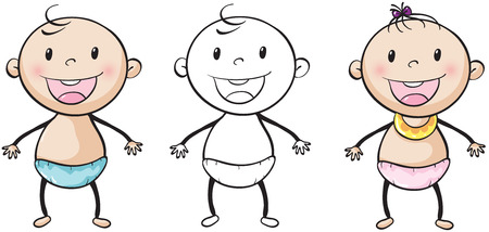 baby in diaper: Baby boy and girl smiling illustration Illustration