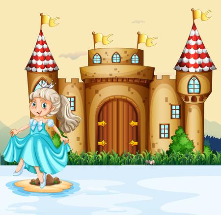 castillos de princesas: linda princesa en el palacio de la ilustración