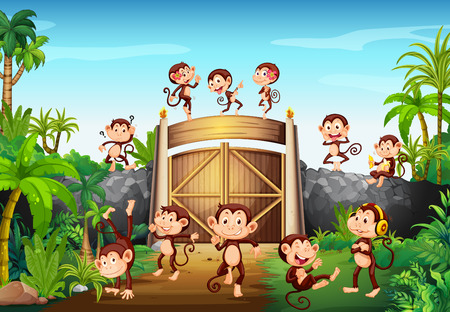 Monkeys having fun at the gate illustration Ilustrace