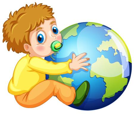 clip art people: Todler hugging the earth illustration Illustration