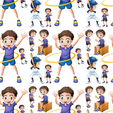 hulahoop: Seamless boy doing different activities illustration